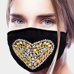 Other - Rhinestone Embellished Heart Fashion Mask